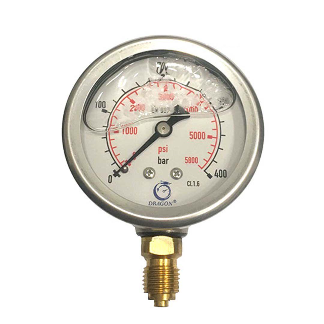 گیج فشار روغنی دراگون 400 بار- صفحه 6 سانت (DRAGON)