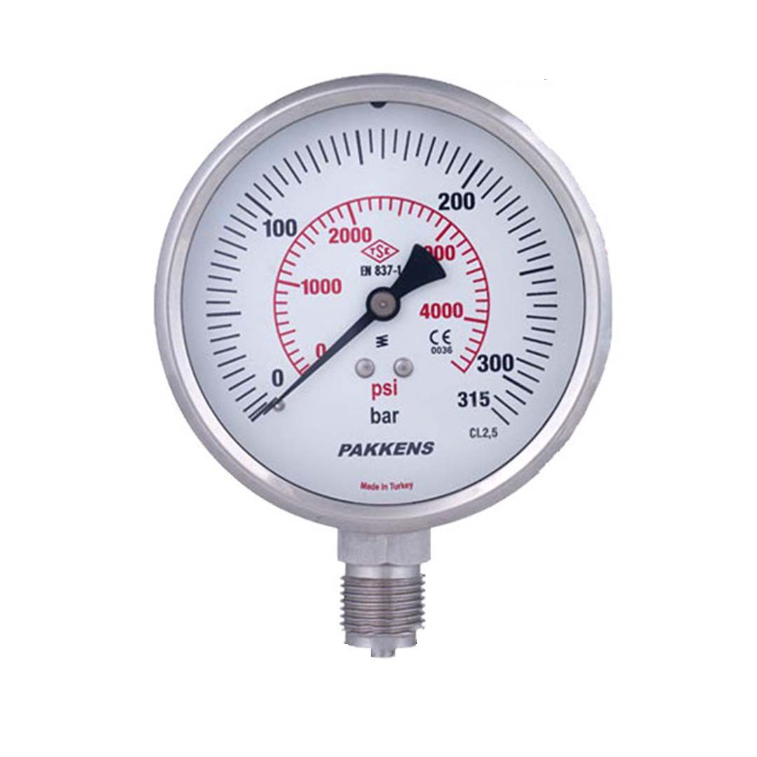گیج فشار خشک پکنز 300 بار صفحه 6 سانت (PAKKENS)
