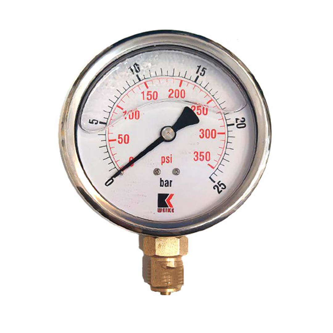 گیج فشار روغنی ویک 25 بار صفحه 10 سانت (WEIKE)