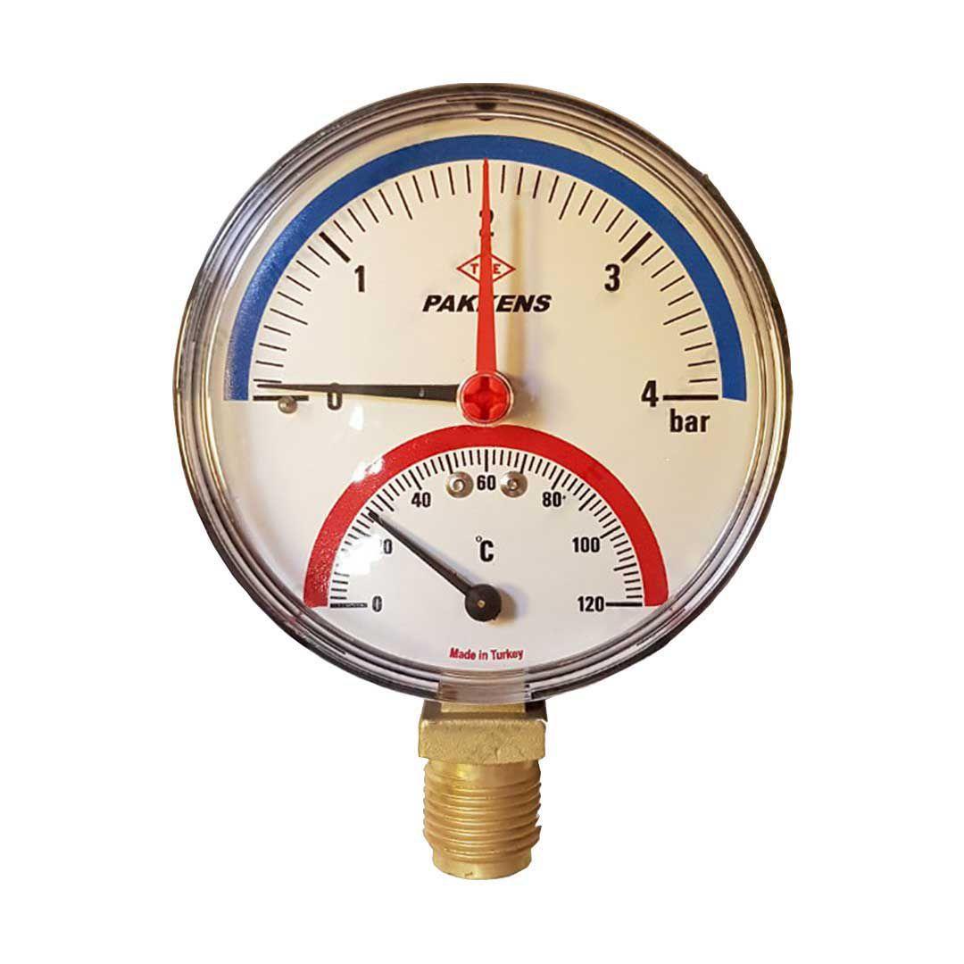 ترمومتر مانومتر پکنز 4 بار صفحه 10 سانت