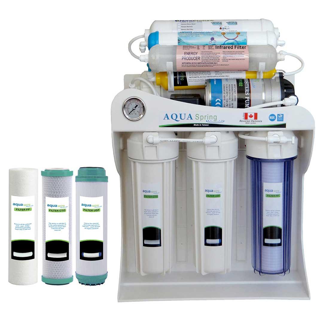 دستگاه تصفیه آب خانگی آکوا اسپرینگ مدل RO – SF4100 به همراه فیلتر مجموعه سه عددی
