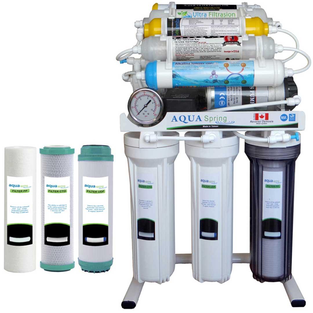 دستگاه تصفیه آب خانگی آکوا اسپرینگ مدل RO - NF2800 به همراه فیلتر مجموعه سه عددی