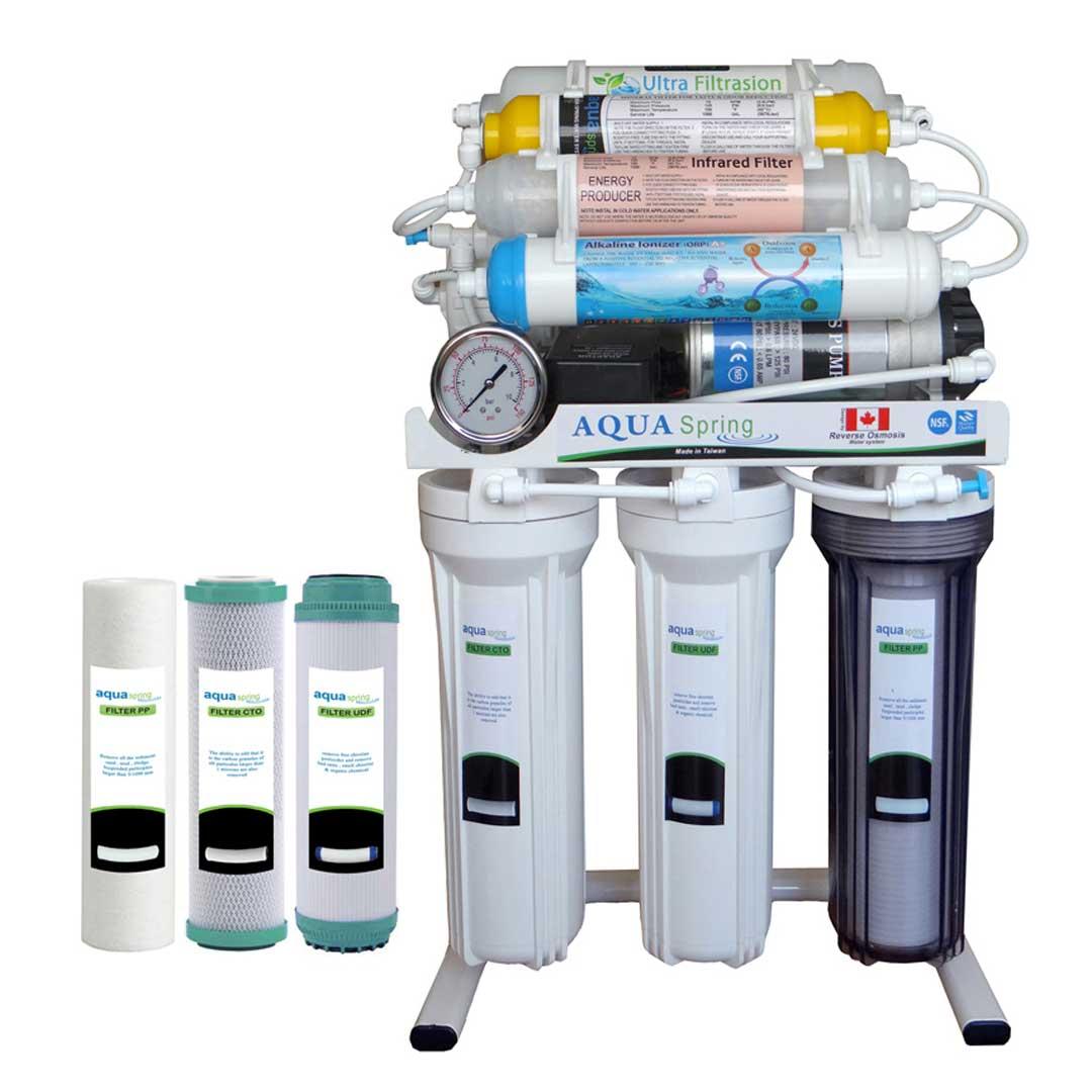 دستگاه تصفیه آب خانگیآکوآ اسپرینگ مدل RO - NF3400 به همراه فیلتر مجموعه سه عددی