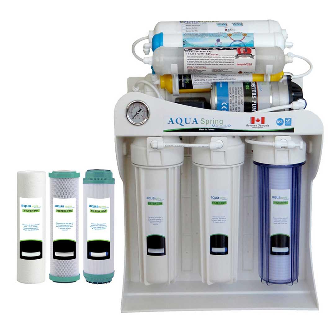 دستگاه تصفیه آب خانگیآکوآ اسپرینگ مدل NF - SF4400 به همراه فیلتر مجموعه 3 عددی