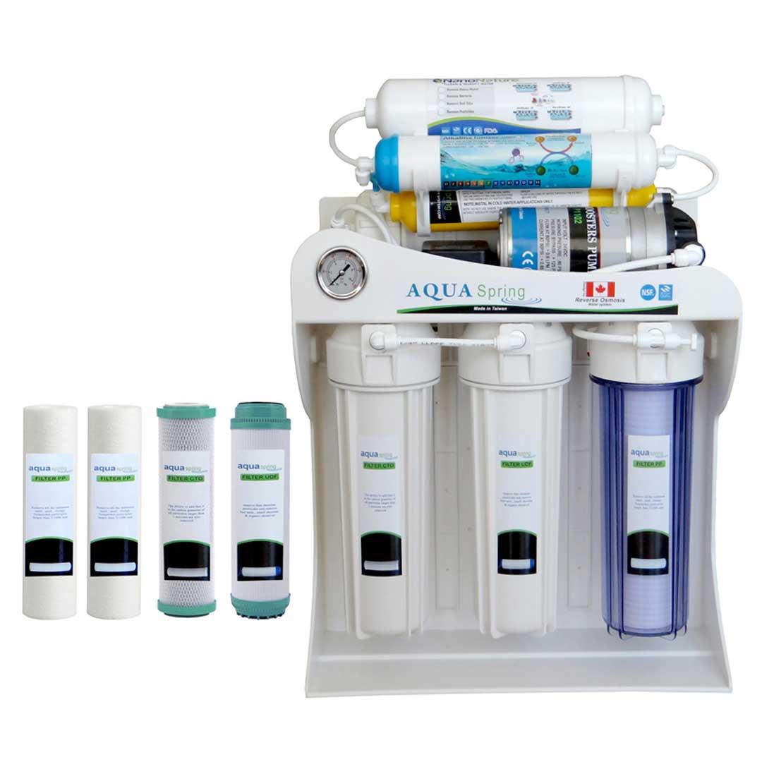 دستگاه تصفیه آب خانگی آکوآ اسپرینگ مدل AQ-SF2400 به همراه فیلتر بسته 4 عددی